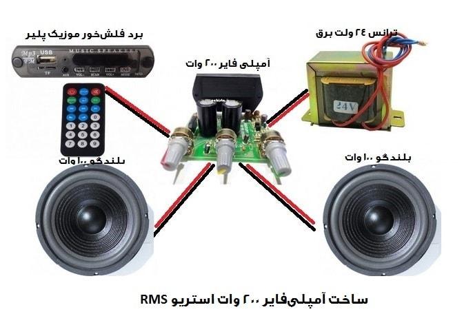 سیستم صوتی با آمپلی فایر 200 وات RMS استریو
